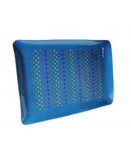 Bandeja de melamina color azul retro con estampado lunares servicio de mesa.