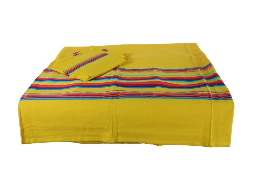 Mantel color amarillo con 4 servilletas a juego para vestir tu mesa