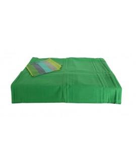 Mantel color verde con servilletas