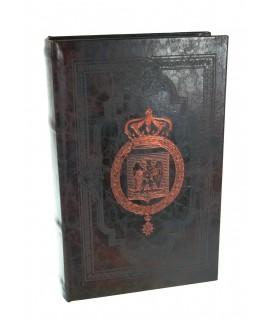 Caja libro con tapas símil de piel repujada