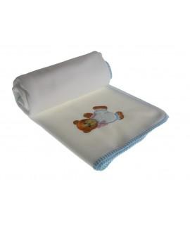 Couverture bébé blanche avec détail ours bleu