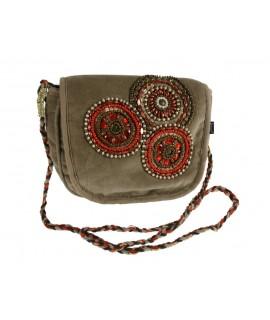 Sac à bandoulière avec strass sur le devant en velours marron Ce sac est un indispensable du quotidien dans lequel vous pourrez