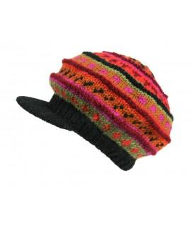 Barret amb visera d'hivern color taronja de llana gorra artesanal estil hippie gorra per regal dona