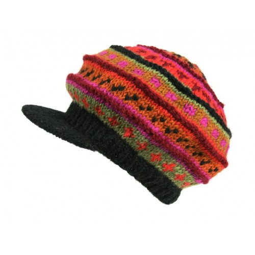 Gorro con visera de invierno color naranja de lana gorro artesanal estilo hippie gorro para regalo mujer