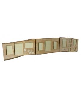 Cadre pour douze photos sur une bûche de bois pour un mur. Dimensions: 40x160x4 cm.