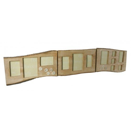 Marco para doce fotos de pared realizado en tabla maciza de madera