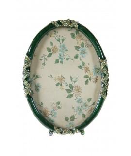 Marco Portafotos ovalado sobremesa metálico color verde. Medidas: 13x10 cm.