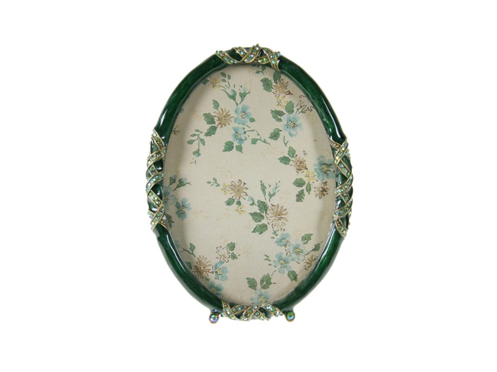 Marco ovalado para foto de metal color verde decorado con brillantes.