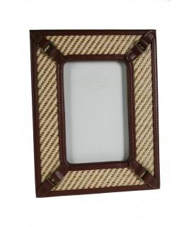 Cadre en cuir et tissu pour photo 10x15 cm. dans un style vintage.