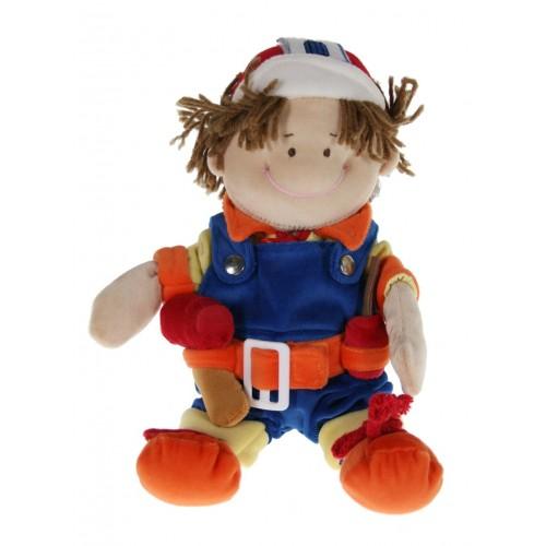 Muñeco de trapo con vestido de profesión arquitecto constructor