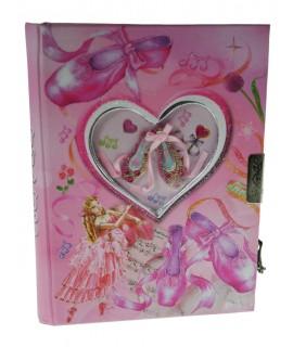 Diari infantil amb clau color rosa il·lustració sabatilles de ballet