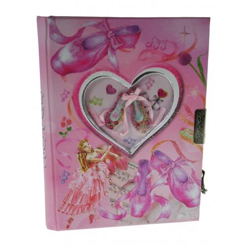 Diario infantil con llave color rosa ilustración zapatillas de ballet