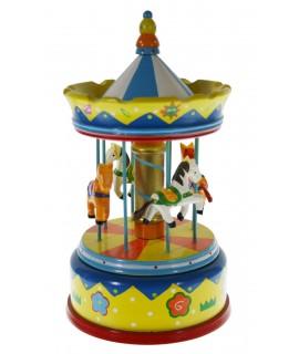 Caixa Musical de fusta decorada amb forma Carrusel de Cavalls