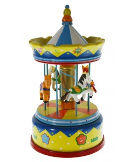 Caja de música carrusel con caballos de madera juguete infantil