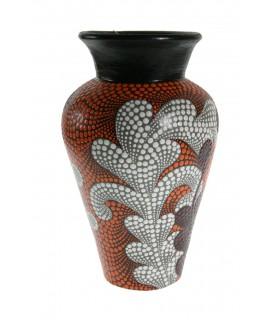 Gerro gerro de ceràmica amb dibuix ètnic color taronja