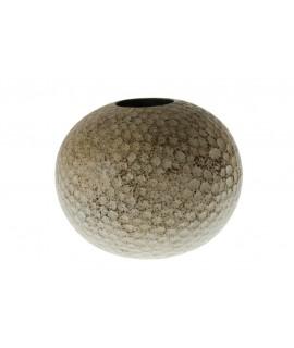 Centre de table ou vase en bois rond de couleur gris