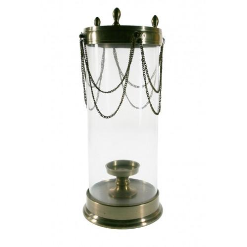 Porta velas de cristal con base de metal dorado muy decorativo