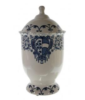 Pot de ceràmica peça única amb dibuix en blanc i blau