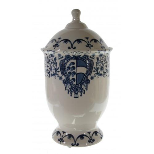 Bote de cerámica pieza única con dibujo en blanco y azul