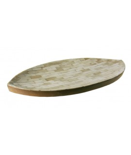 Centro de mesa de madera con incrustaciones de nácar. Medidas: 4x26x54 cm.