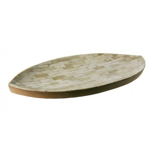 Centre de taula de fusta amb incrustacions de nacre