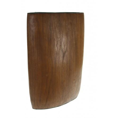 Florero de madera maciza de una sola pieza.
