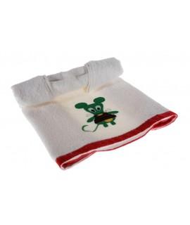 Toalla de baño infantil color blanco con dibujo bordado en color verde. Medidas: 50x100 cm.