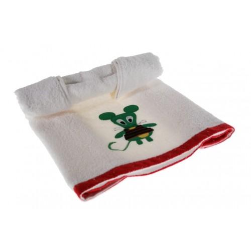 Toalla de baño infantil color blanco con dibujo bordado de color verde
