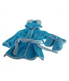 Albornoz Infantil conjunto color Azul