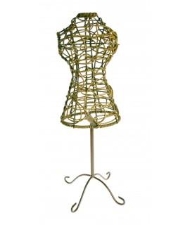 Maniquí expositor organizador de ratán para colgantes anillos pendientes y joyas. Medidas: 43x14x10 cm.