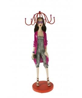 Maniquí expositor para colgantes y anillos de figura chica. Medidas: 34x10x10 cm.