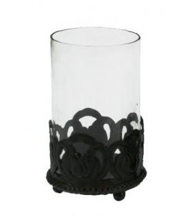 Porta espelmes vidre i metall envellit estil vintage. Mesures: 13x7 cm.