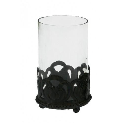 Porta vela de metal envejecido estilo vintage para decoración hogar