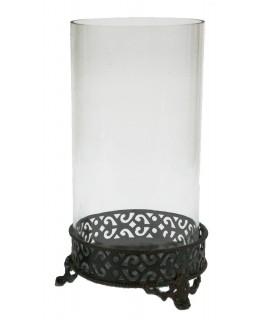 Portavelas vidrio y metal envejecido