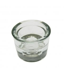 Porta espelmes petit de forma rodó de vidre per a vela llarga
