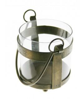 Porta velas grande de vidrio y metal estilo vintage. Medidas: 15x15x15 cm.