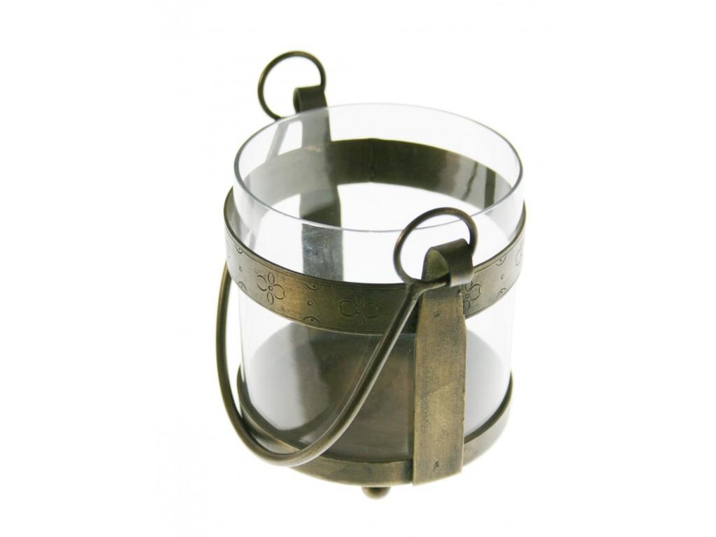 Porta vela grande de vidrio y metal estilo vintage decoración hogar