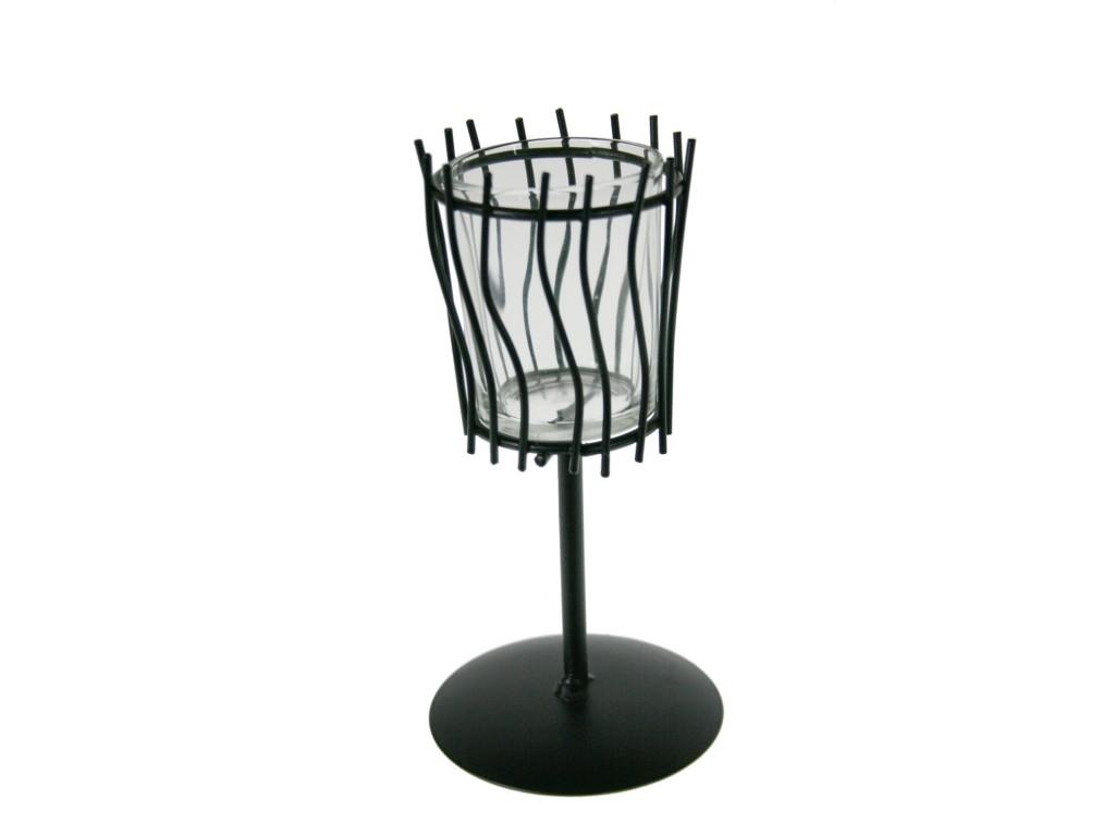 Porta vela pequeño de vidrio y metal estilo vintage decoración hogar