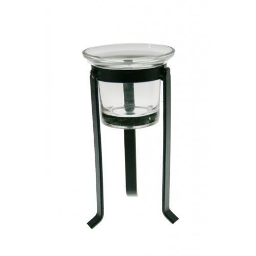 Porta vela petit de vidre i metall estil vintage decoració llar
