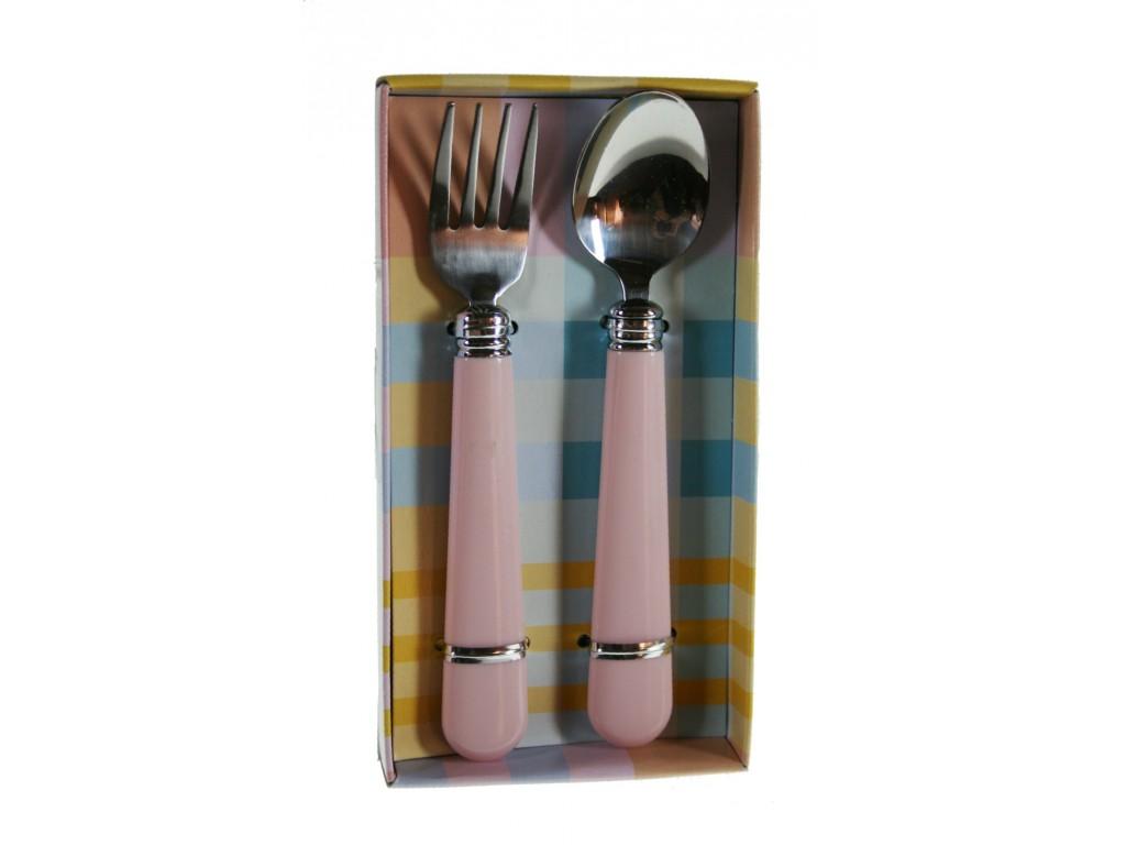 Cubiertos infantiles de colar rosa set de tenedor y cuchara