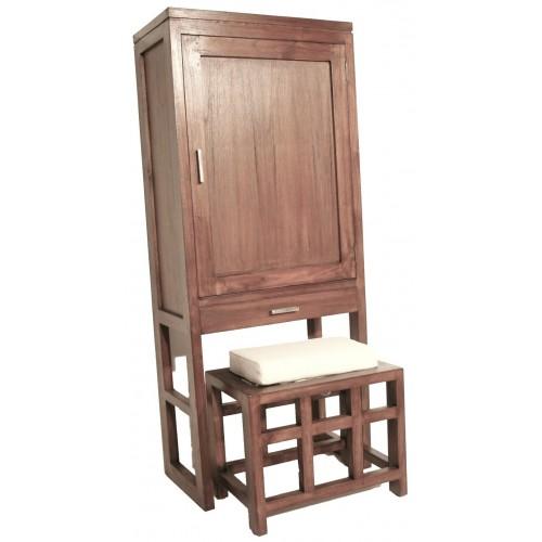 Compra online zapatero de madera maciza con taburete y for Zapatero madera maciza
