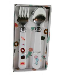 Cubiertos infantiles de colar blanco set de tenedor y cuchara