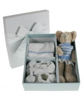 Caixa de regal amb Accessoris Nadó osset, pitet, sabates. Color blau.