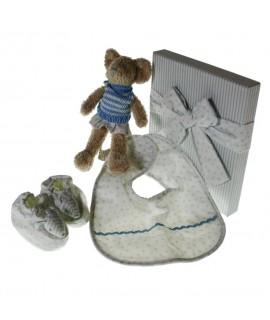 Caja de Regalo con Accesorios Bebé osito,babero,zapatos. Color azul