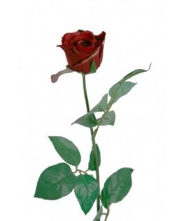 Flor rosa artificial de color roja con pétalos de tela y tallo largo decoración adorno hogar
