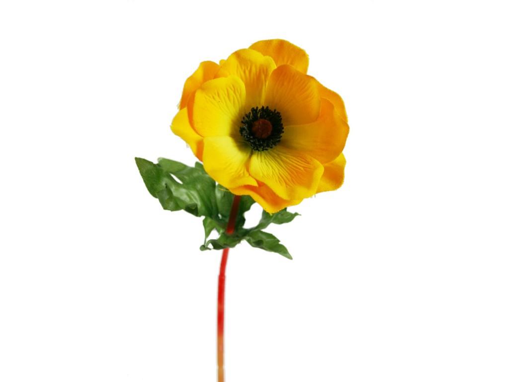 Flor anémona de color amarillo artificial con pétalos de tela decoración adorno hogar