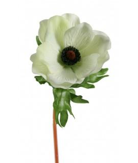 Flor anémona de color blanca artificial con pétalos de tela decoración adorno hogar