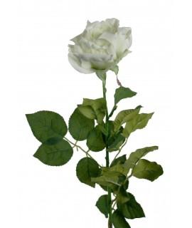 Flor rosa artificial de color blanca con pétalos de tela y tallo largo decoración adorno hogar