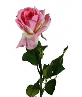 Flor rosa artificial de color rosa con pétalos de tela y tallo largo decoración adorno hogar