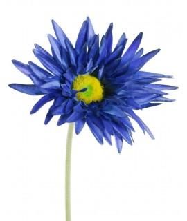 Flor artificial gerberas de color azul con pétalos de tela y tallo largo decoración adorno hogar